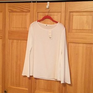 NWT rayon flare long sleeve T Blouse